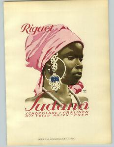 1926 Ludwig Hohlwein Munchen Riquet Sudana Pralinen Chocolate Black Lady  Poster