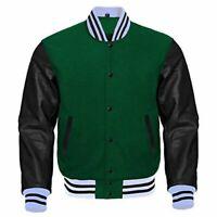 New Varsity Letterman Baseball Jacket Forest Green Body Cream Leather Sleeves