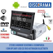 STEREO ANDROID SCHERMO A SCOMPARSA 1 DIN GPS WIFI USB CD DVD AUTORADIO BLUETOOTH