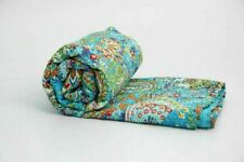 Indian Twin Kantha Quilt Vintage Handmade Bedspreads Throw Blanket Ralli Gudar