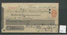 wbc. - CHEQUE - CH141 - USED -1910s - BANK of ENGLAND, BURLINGTON GDNS. LONDON