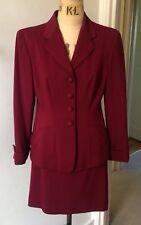 Ladies DKNY Vintage Style Ladies Burgundy wool suit size 8 USA