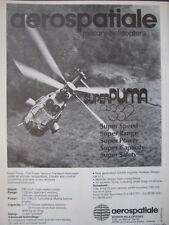 7/1982 PUB AEROSPATIALE HELICOPTERE AS 332 SUPER PUMA HELICOPTER ORIGINAL AD