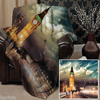 Large Warm Sofa Fleece Throw Big Ben London Design Blanket Great Gift Idea