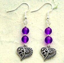 Love Heart Earrings with Sterling Silver Hooks New Purple Glass Drops LB363