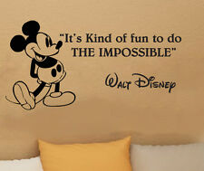 Disney Mickey Mouse It's Kind Of Fun To Do wall quote vinyl wall decal sticker B
