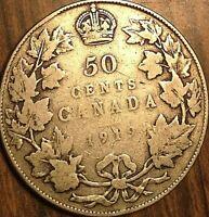 1919 CANADA SILVER 50 CENTS COIN