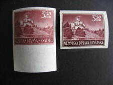 Croatia Sc 54 MNH imperf singles reg and pelure paper