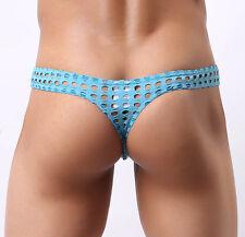 Blue Men Holes Micro Underwear Sheer Thong Bikini Pouch T-Back Hollow String XL