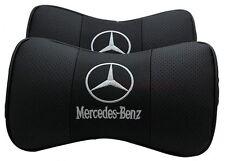 Shwarz Farbe MERCEDES Paar Lederkopfstütze Kissen Auto Sitzkissen Nackenstütze