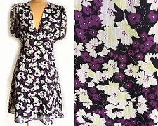 Topshop Vintage Chiffon Crepe Floral Daisy Pansy Print Tea Dress - Size 8