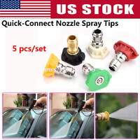 "1/4"" High Pressure Washer Spray Nozzle Tip w/Quick Connect 5 in 1 2.5-4.0 GPM"