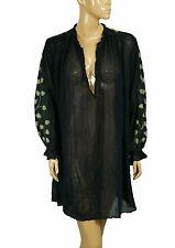 109157 New Mes Demoiselles Paris Floral Embroidered Gauze Black Sheer Dress L US