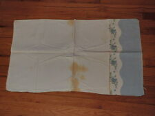 Vtg Feedsack Full Uncut Blue Green Rose Cotton Quilt Fabric Doll Clothes F3z
