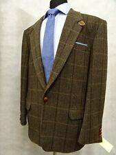 Men's Brown Herringbone Check Prima Moda Tweed Jacket Blazer 44R SK598