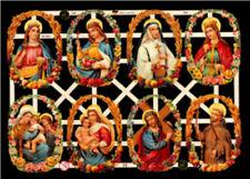TWO VICTORIAN CATHOLIC CHRISTIAN JESUS MARY SAINTS GERMAN DIE CUT SCRAP PAPERS