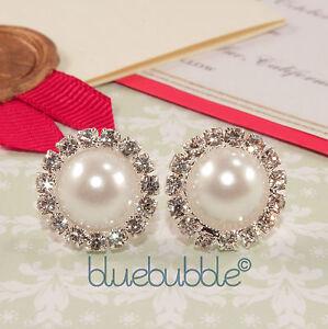 DIAMANTE PEARL EARRINGS VINTAGE WEDDING FAVOUR BRIDE BRIDESMAID PROM GIFT BOX UK