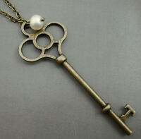 Lg Alice in Wonderland Necklace Key and Freshwater Pearl Steampunk Kitsch