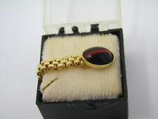 Vintage Tie Tack Pin: Black Red Stripe Accent Gold Tone Mesh Wrap Style