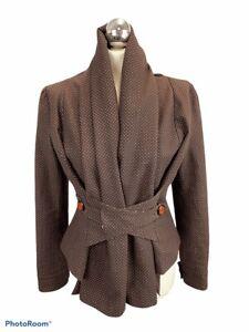 Ringspun Waist Length Jacket Brown Spot Size 12 Quirky Boho Button Waist