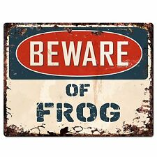 PP1355 Beware of FROG Plate Rustic Chic Sign Home Room Store Decor Gift