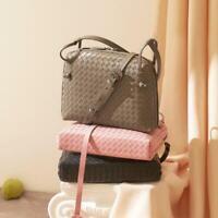 Fashion Woven Shell 100% Sheepskin Genuine Leather Purse Women Shoulder Bag Tote