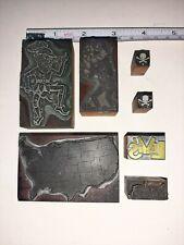 Vintage Printing Press Blocks Wood Stamps Levis Skull N Bones Map Cartoons Lot