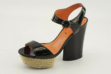 $250 NEW Via Spiga Novia Black Patent Leather Platform Espadrilles 8.5 B6335L1
