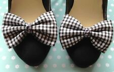 PAIR BLACK WHITE GINGHAM CHECK FABRIC SHOE BOW CLIPS VINTAGE STYLE HANDMADE BOWS