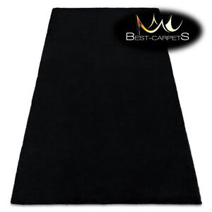 MODERN thick, soft in touch RUG 'BUNNY' black Rabbit fur imitation High Quality