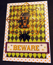 """Halloween """"House Web"""" Cards Brand New Home Made Set of 4 cards"""