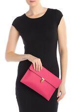 Alexander McQueen Skull Closure Leather Envelope Clutch Bag FUCSIA Pink - Italy