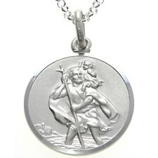 "Mens Sterling Silver St Saint Christopher Pendant Chain 20"" Necklace - 24mm"