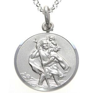 "Mens Sterling Silver St Saint Christopher Pendant Chain 20"" Necklace - 24mm"