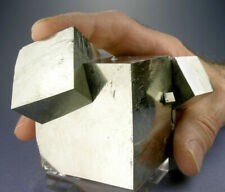 HUGE SHINY 4-CUBE GOLDEN PYRITE CRYSTALS w a 5.4 CM. CUBE, 3-D VIDEO, SPAIN