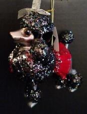 Black Poodle Dog Shaped Glass Sparkly Ornament Red Skirt Robert Stanley