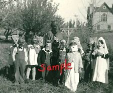 4 X 6 B & W Print Creepy Macabre Scary Children Vintage Halloween Photo c1930