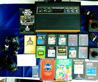 Atari 2600 Console/Game Lot Of 21 Light Sixer Joysticks Paddles 10 Games More