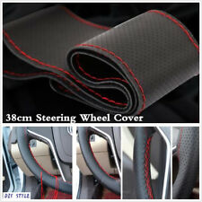 """Universal 15""""/38cm Hand Sewing Leather Steering Wheel Cover DIY WIth Red Thread"""