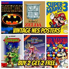 NES GAME POSTERS Vintage Retro Game Bedroom Decor Cafe Shop Wall Kids Gift Gamer