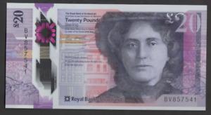 ROYAL BANK SCOTLAND POLYMER £20 UNCIRCULATED PREFIX BV 857541 FREEPOST RECORDED
