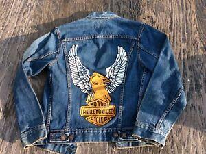 Vtg 60s Levis Big E Blue Jean Denim Trucker Jacket Harley Logo Mens S 34 Type 4