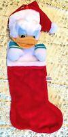 CHRISTMAS DISNEY SANTA CLAUS DONALD DUCK PLUSH STOCKING Holiday Sock Stockings