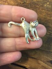 Cat Pendant Charm Hissing Scary Sterling Silver