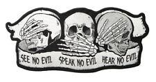"""OUTLAW BIKER See No Evil Speak No Evil Hear No Evil Skull Large Patch 11"""" x 5"""""""