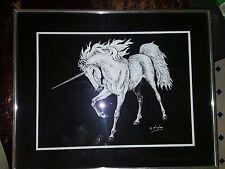 "Vintage H.W. Hoag Unicorn Black & White Framed Print 16"" x 20"" MAJESTICAL!"