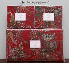 New Pottery Barn Adela Velvet Print Paisley Full/Queen Duvet+Shams Red Christmas