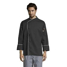 Uncommon Threads Unisex Panama Chef Coat 5 Button Withpiping, Black/White Pip.