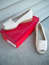 New in Box AEROSOLES Sprig Break Jute Leather Peep Toe  Wedge Sandal  7.5 M