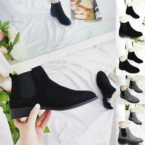 Ladies Womens Chelsea Ankle Boots Low Block Heel Slip On Boots Office Shoes Size